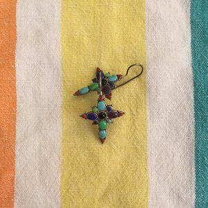 925 Sterling Silver Colorful Gem Cross Earrings